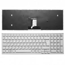 Клавиатура для ноутбука Sony Vaio VPC-EB Series. Белая, с рамкой и большим Enter.