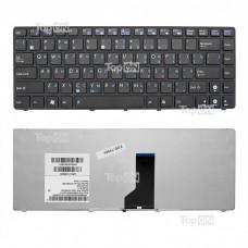Клавиатура для ноутбука Asus A42, A42N, B43, K41, K42, K43, UL30 Series. Плоский Enter. Черная, с черной рамкой. PN: 0KN0-FS1US01, 9J.1M82.60R.