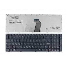 Клавиатура для ноутбука Lenovo IdeaPad G570, G575, G770, Z560, Z565 Series. Плоский Enter. Черная, с черной рамкой. PN: 25-0161025, 25-010793.