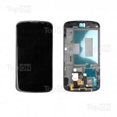 """Матрица и тачскрин (сенсорное стекло) в сборе для смартфона LG Nexus 4, дисплей 4.7"""" 768x1280, A+. Черный, с рамкой."""