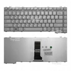 Клавиатура для ноутбука Toshiba Satellite A200, A205, A210, A215, M200 Series. Плоский Enter. Серебристая, без рамки. PN: NSK-TAJ01 9J.N9082.J01.