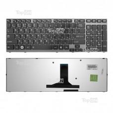 Клавиатура для ноутбука Toshiba Satellite A660, A665, Qosmio P750, X770 Series. Плоский Enter. Черная, с черной рамкой. PN: 9Z.N4YBC.00R, PK130CX1A11.