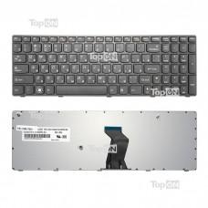 Клавиатура для ноутбука Lenovo B570, B580, V570, V580, Z570 Series. Плоский Enter. Черная, с черной рамкой. PN: 25-011910, 25-012349.