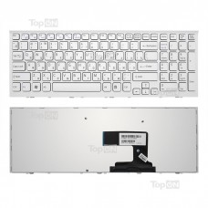 Клавиатура для ноутбука Sony Vaio VPC-EL Series. Белая, с рамкой. Русифицированная.