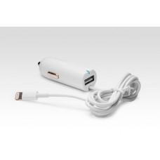 Автозарядка Lightning + порт USB 2.1A. Подходит для Apple iPhone 6 Plus, iPhone 6, Phone 5, iPad 4, iPad min, других смартфонов и планшетов. Белая.