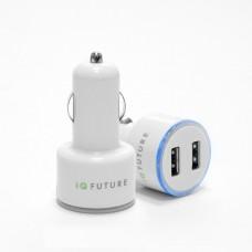 Автозарядка на 2 USB порта для iPhone, iPod и многих других смартфонов и планшетов. USB1 5W (5V 1A), USB2 10W (5V 2.1A). Белая