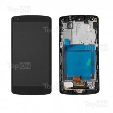 """Матрица и тачскрин (сенсорное стекло) в сборе для смартфона Nexus 5 (с комплектующими), дисплей 4.95"""" 1080x1920, A+. Черный."""