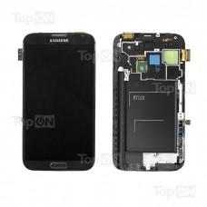 """Матрица и тачскрин (сенсорное стекло) в сборе для смартфона Samsung Galaxy Note 2 GT-N7100, дисплей 5.55"""" 720x1280, A+. Серый, с рамкой."""