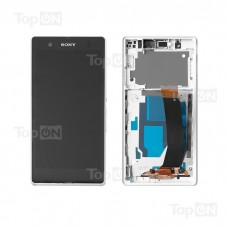 "Матрица и тачскрин (сенсорное стекло) в сборе для смартфона Sony Xperia Z C6602, 5"" 1080x1920, A+. Белый, с рамкой."