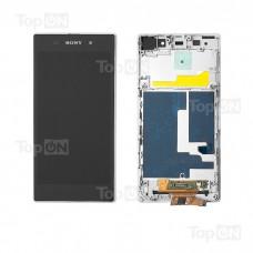 """Матрица и тачскрин (сенсорное стекло) в сборе для смартфона Sony Xperia Z1 L39H, 5"""" 1080x1920, A+. Белый, с рамкой."""