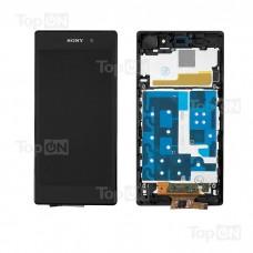 "Матрица и тачскрин (сенсорное стекло) в сборе для смартфона Sony Xperia Z1 L39H, 5"" 1080x1920, A+. Черный, с рамкой."