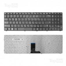 Клавиатура для ноутбука Samsung R578, R580, R588, R590 Series. Плоский Enter. Черная, с черной рамкой. PN: BA59-02680C, BA59-02811C.