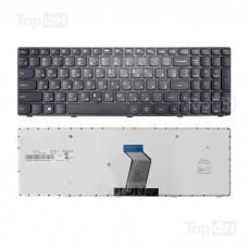 Клавиатура для ноутбука Lenovo G500, G505, G510, G700, G710 Series. Плоский Enter. Черная, с черной рамкой. PN: MP-12P83SU-686, NSK-B70SC 0R.