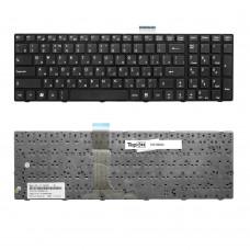 Клавиатура для ноутбука MSI A6200, A6500, CR630, CR650, MS168, S6000 Series. Плоский Enter. Черная, с черной рамкой. PN: V111922AK1, V111922AK3.